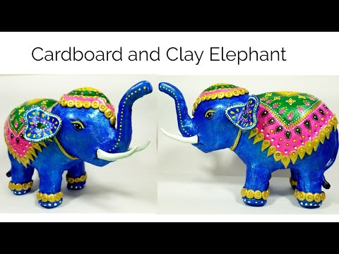 How to make Elephant from cardboard and clay | DIY Elephant homedecor