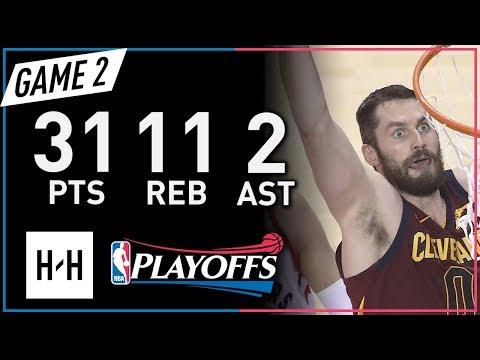 Kevin Love CRAZY Full Game 2 Highlights Cavs vs Raptors 2018 NBA Playoffs - 31 Pts, 11 Reb, 2 Ast!