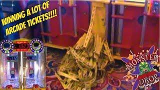 HUGE MONSTER DROP MONSTER JACKPOT AT THE ARCADE! OVER 5000 TICKETS WON! | Arcade Games Fun | Jdevy