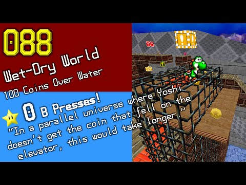 Wet-Dry World: 100 Coins Over Water (0 B Presses)