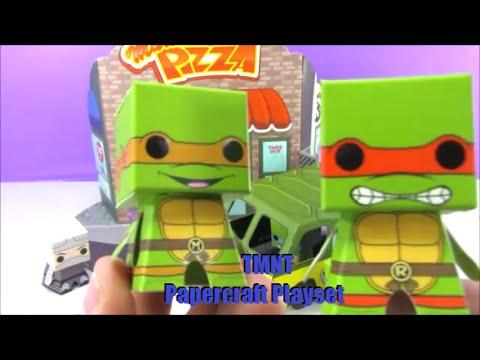 Papercraft Teenage Mutant Ninja Turles TMNT Papercraft Playset Toys Funko Boxos