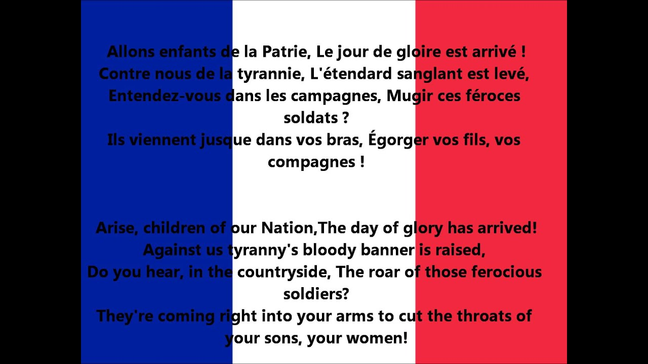 Pliz people who have text Marseillaise anthem of France in French