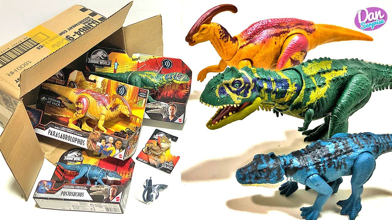 NEW BOX OF JURASSIC WORLD DINOSAURS! Majungasaurus, Postosuchus, Parasaurolophus!