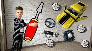 Собираю новую машинку форд мустанг. Запчасти по всему дому. Видео для детей.