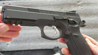 Airsoft ASG CZ-75 SP-01 Shadow GBB Pistol Review, Disassembly, shooting