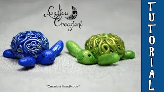 Polymer Clay Tutorial: Tartaruga con gemma di vetro | Sea Turtle with glass gem