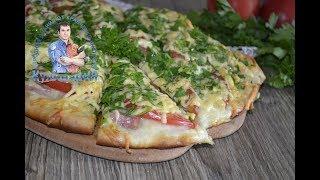 Пицца с помидорами, колбасой и сыром. Простой и быстрый рецепт