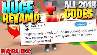 ROBLOX MINING SIMULATOR: HUGE REVAMP UPDATE NEXT WEEKEND!! [All Codes 2018]