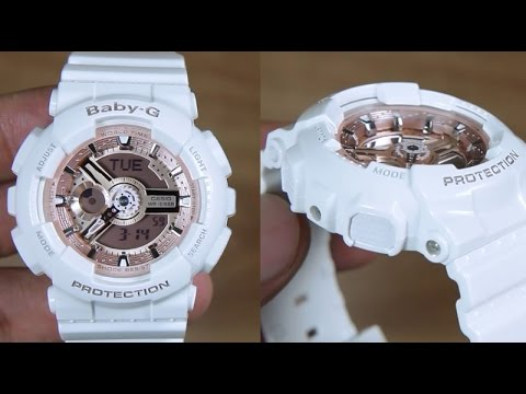 Casio Baby G Ba 110 7a1 White Gold Rose Edition Unboxing
