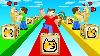 MINECRAFT 1v1v1 RACE With DOGE LUCKY BLOCKS!