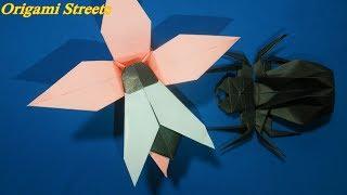 Как сделать муху из бумаги. Оригами муха. Origami fly.