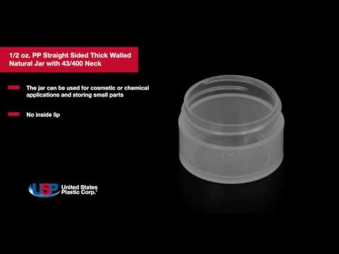 1/2 oz. PP Straight Sided Thick Walled Natural Jar with 43/400 Neck | U.S. PLASTIC CORPORATION®