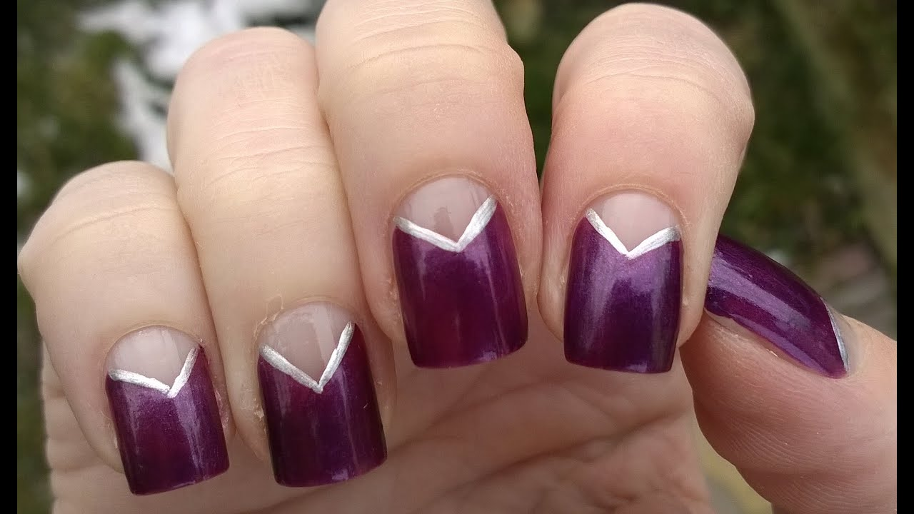 Easy nail art designs! #5 - DIY: Elegant purple & silver NEGATIVE ...