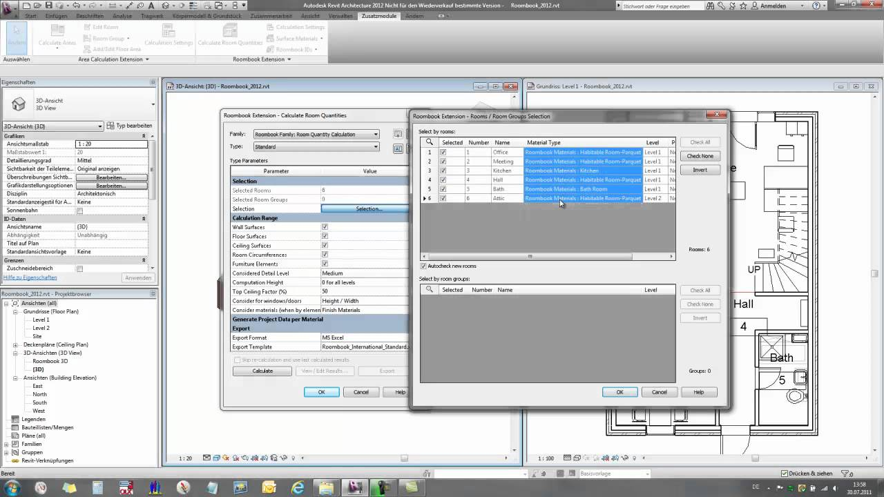 Roombook Extension for Autodesk Revit Architecture 2012