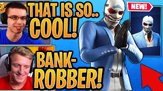 Tfue - Streamers Réagissez à la peau «HEIST» de voleur de banque «HEIST»! - Moments Fortnite