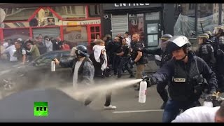 RAW: Police use tear gas, batons to disperse England fans in Lille