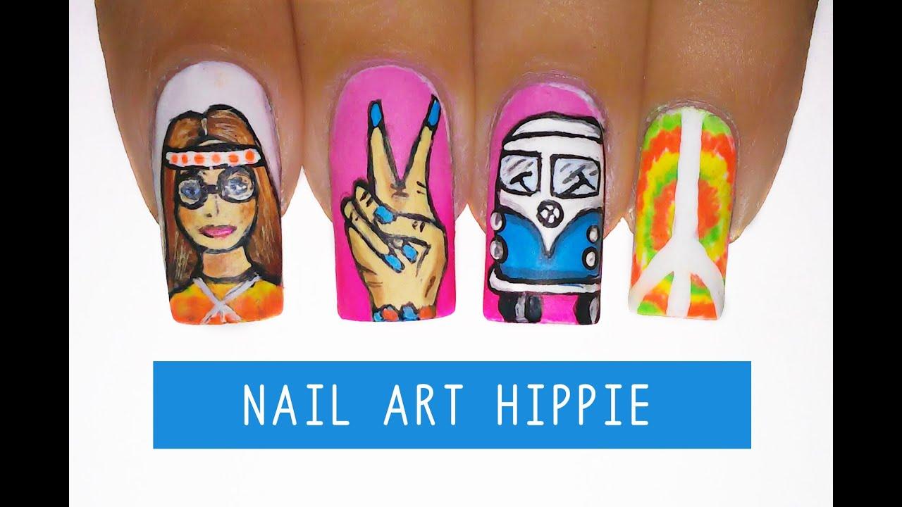 Nail art hippie tie dye kombi cruz de nero yin yang paz e nail art hippie tie dye kombi cruz de nero yin yang paz e amor aline makelyne prinsesfo Choice Image