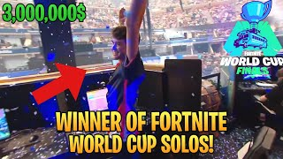 Bugha Reaction On WINNING 3 MILLION DOLLARS! (Fortnite World Cup Solo FINALS!)