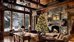 HD Christmas Tree Log Cabin Screensaver Scene - fire crackling sound - Cosy living room Snow falling