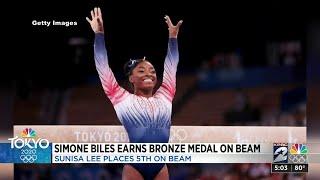 Biles sticks landing in balance beam, wins Olympic bronze
