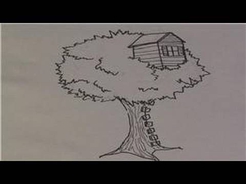 How To Draw A Treehouse Step By Step