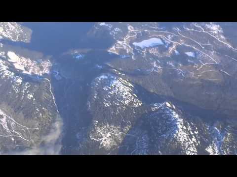 Tokyo (Narita)-to-Vancouver flight: Night takeoff, snow-capped Vancouver Island peaks 2014-01-22