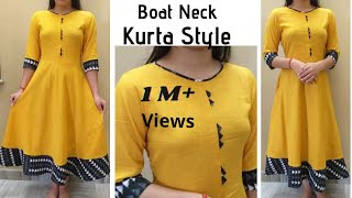 Easy & Most Trendy Umbrella Cut Kurta Design with Boat Neck/Cutting and Stitching/