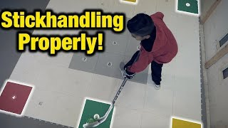 Stickhandle properly with 360 Zone Shooting and Stickhandling training aid for hockey players