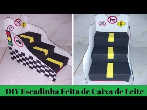 Escadinha de Doces dos Carros Feita de Caixa de Leite - Evelyn Oliveira