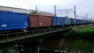 安倍川駅―用宗駅間丸子川鉄橋にて。66が貨車の先頭に立つようになると...