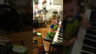 Kid toots (farts) his own horn
