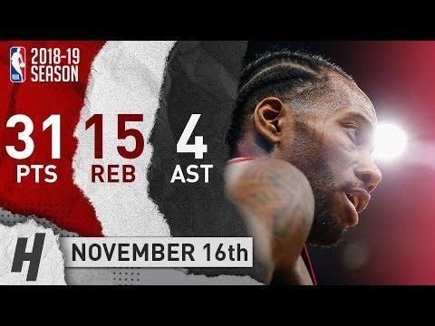 Kawhi Leonard Full Highlights Raptors vs Celtics 2018.11.16 - 31 Pts, 4 Ast, 15 Rebounds!