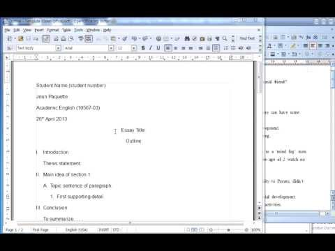 Creating Outline (typing into template - Open Office) - YouTube