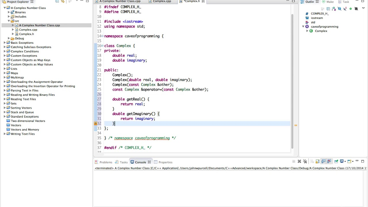 Learn Advanced C++ Programming a complex number class