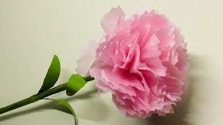 カーネーションを100均のお花紙フラワーペーパーと折り紙を使って、簡単...