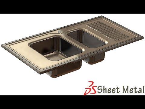 SolidWorks Sh Tutorial # 285: Sheet metal kitchen sink, (form tool)