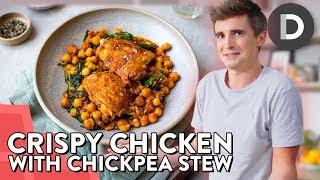 SUPER EASY Crispy Chicken &amp Chickpea Stew!