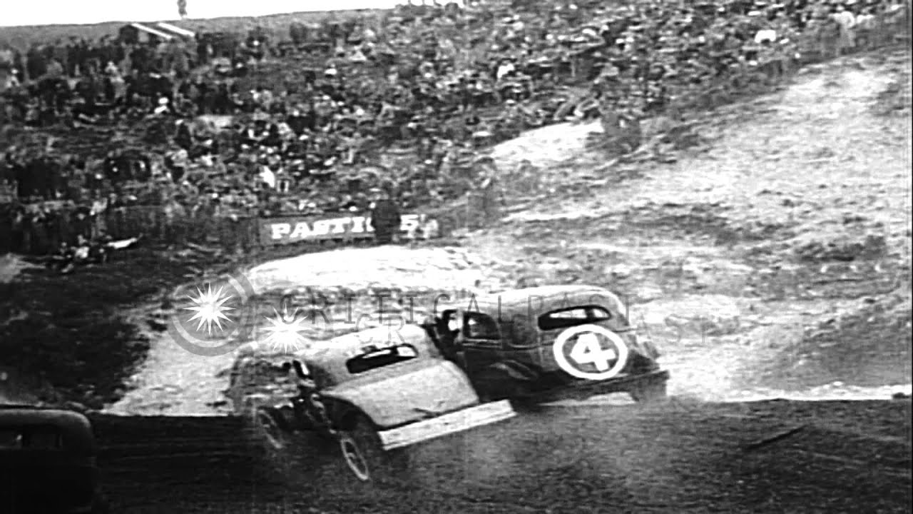 French stock car racing at a dirt track in France. HD Stock Footage ...