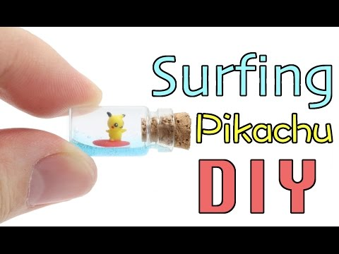 How to DIY Mini Surfing Pikachu Bottle Clay Resin Tutorial
