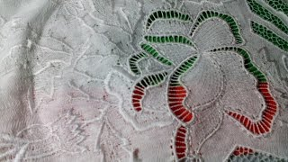 Машинная вышивка  ✿Техника ришелье ✿ Угол скатерти обзор