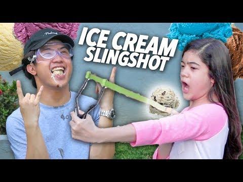 Ice Cream Slingshot Challenge (Hard Catch) | Ranz and Niana