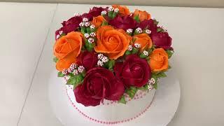 Торт БУКЕТ РОЗ РОЗЫ из Белкового крема Как украсить торт на ДЕНЬ РОЖДЕНИЯ Красивый торт