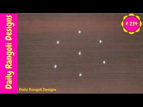 #234 easy rangoli designs with 3X2 dots|simple kolam designs with dots|art muggulu designs with dots