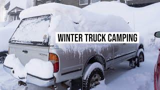 Winter Truck Camping Duŗing a Snowstorm