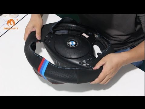 MEWANT- For BMW 3 Series E46 (M Sport) Hand Stitch Car Steering Wheel Cover Installation