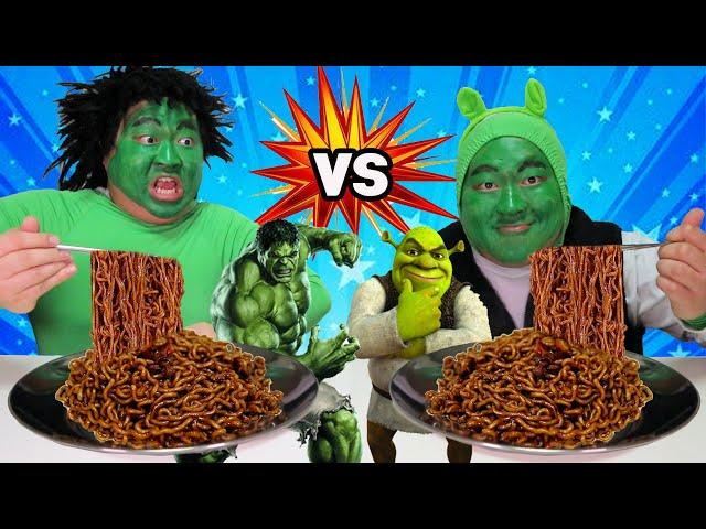 [bogil] 헐크vs슈렉 짜장라면 푸드파이터😀ㅋㅋ Hulk vs Shrek