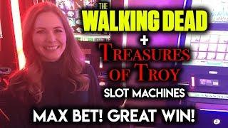 MAX BET! Walking Dead Original Slot Machine! Treasures of Troy GREAT WIN!!!