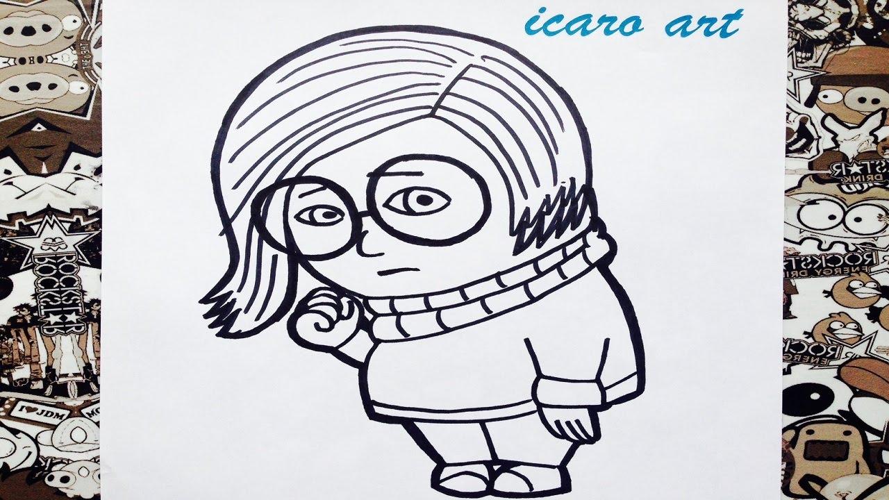 Como dibujar a tristeza de intensamente  how to draw tristesa