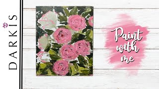 Acrylic Floral | Painting Roses with a Palette Knife