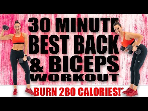 30 Minute BEST BACK AND BICEPS WORKOUT! ��BURN 280 CALORIES!*��with Sydney Cummings